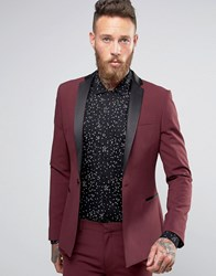 Asos Super Skinny Tuxedo Suit Jacket Burgundy Red