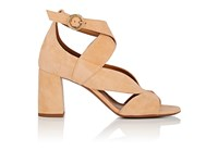 Chloe Women's Graphic Leaves Suede Sandals Peach