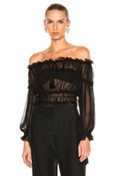 Alberta Ferretti Chiffon Off The Shoulder Peasant Blouse In Black