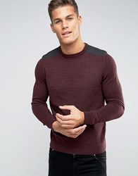New Look Jumper With Patch Detail In Burgundy Burgundy Red