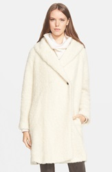 Vince Fuzzy Knit Boucle Coat Winter White