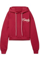 Adaptation Cropped Embroidered Cotton Jersey Hoodie Claret