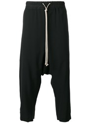 Rick Owens Cropped Drop Crotch Joggers Black