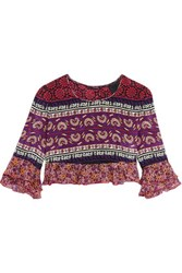 Anna Sui Cropped Ruffled Printed Silk And Cotton Blend Top Pink