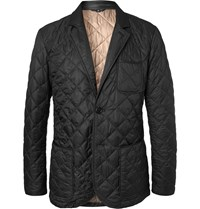 Dunhill Leather Trimmed Quilted Shell Blazer Black
