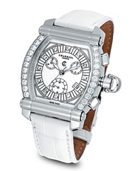 Charriol Diamond Colvmbvs Chronographe Tonneau Watch With White Crocodile Strap No Color