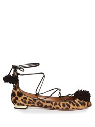 Aquazzura Sunshine Calf Hair Fringed Flats Leopard