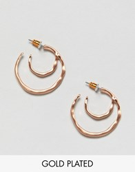 Pilgrim Rose Gold Plated Mini Double Hoop Earrings Rose Gold