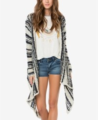 O'neill Juniors' Riku Striped Open Front Cardigan Bone White