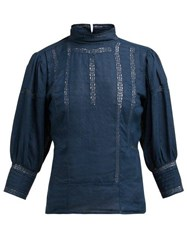 Mes Demoiselles Byrds High Neck Linen Top Navy