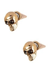 Spring Street 3D Skull Cone Stud Earrings Metallic