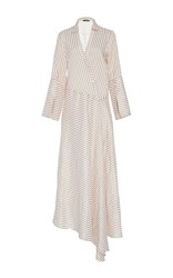 Hellessy Messina Sand Asymmetric Shirt Dress Stripe