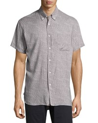 Billy Reid Tuscumbia Printed Short Sleeve Sport Shirt Gray