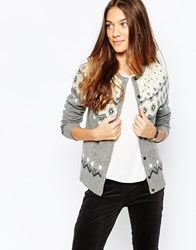 Jack Wills Fitted Christmas Jumper Cardigan With Sequins Multi
