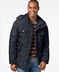 London Fog Hooded Parka Jacket Navy