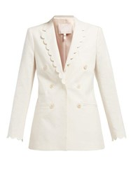Rebecca Taylor Scalloped Double Breasted Cotton Blend Blazer Ivory