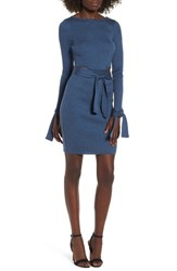Lost Ink Cutout Body Con Dress Blue