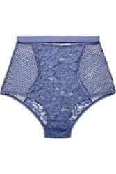 Else Petunia Stretch Mesh And Corded Lace Briefs Indigo