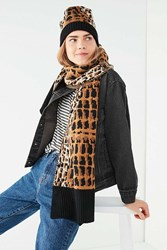Urban Outfitters Graphic Leopard Intarsia Scarf Neutral Multi