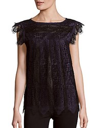 Max Studio Scalloped Lace Top Navy Black