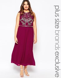 Lovedrobe Embellished Crop Overlay Maxi Berry