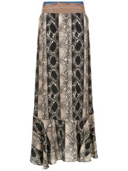 Amir Slama Printed Long Skirt Black