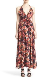 Women's Fuzzi 'Garden Party' Floral Print Tulle Mesh Halter Dress