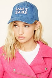 Forever 21 Maui Babe Denim Baseball Cap Blue Light Pink