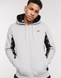 Lacoste Sport Zip Through Hoodie With Brand Taping In Grey