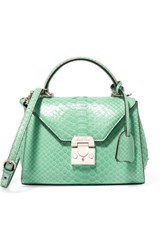 Mark Cross Hadley Baby Python Shoulder Bag Mint