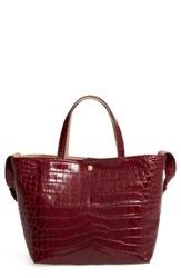 Elizabeth And James Eloise Croc Embossed Leather Tote Red Oxblood