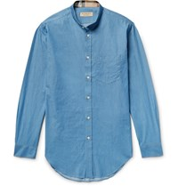 Burberry Slim Fit Grandad Collar Denim Shirt Light Denim