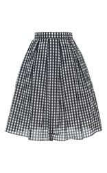 Holly Fulton High Waisted Checkered Skirt Black