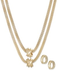 Charter Club Crisscross Mesh Double Layer Necklace And Hoop Earrings Set Only At Macy's Gold