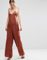 Asos Cami Satin Jumpsuit With Wide Leg Chocolate Brown