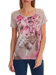 Betty Barclay Floral Print Top Taupe Beige