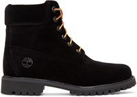 Off White Black Timberland Edition Velvet Boots