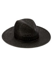 Rag And Bone Wide Brim Straw Fedora Black