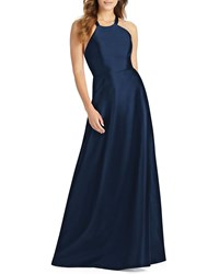 Alfred Sung Halter Gown With Lace Up Back Midnight