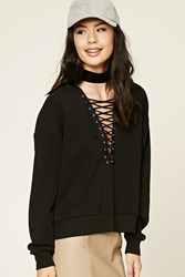 Forever 21 Contrast Lace Up Hoodie