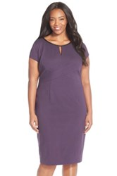 Classiques Entier Leather Trim Cap Sleeve Ponte Sheath Dress Plus Size Purple