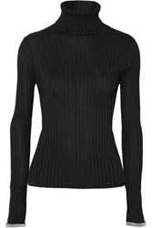 Alexander Wang Crystal Embellished Ribbed Knit Turtleneck Sweater Black