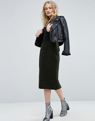 Asos Pencil Skirt In Quilted Velvet Green