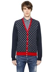 Dsquared Polka Dot Cotton Cardigan Navy Red