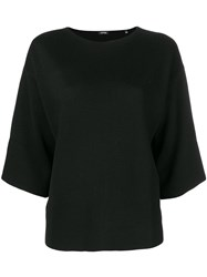 Aspesi Drop Shoulder Knitted Top Black