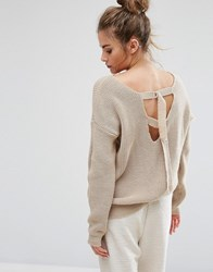 Daisy Street Oversized Jumper With Open D Ring Back Ties Sand Beige