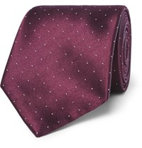 Brioni 8.5Cm Polka Dot Silk And Cotton Blend Tie Red