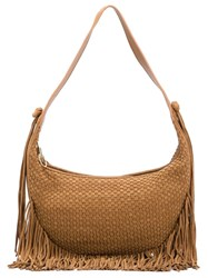 Elizabeth And James Basketweave Effect Fringed Shoulder Bag Brown
