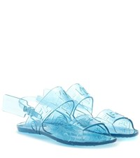 Off White Zip Tie Jelly Sandals Blue