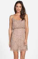 Adrianna Papell Women's Sequin Mesh Blouson Dress Taupe Pink
